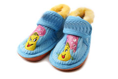 Decorated newborn baby shoes Royalty Free Stock Images