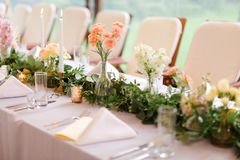 Decorated and nice served table for wedding. stock images