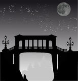 Decorated night bridge illustration Royalty Free Stock Image