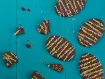 Decorated Novelty Chocolate Easter Biscuits. Against a Blue Background Stock Photo