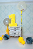 Decorated number 1 for a birthday. Happy birthday one year Stock Photos