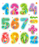 Decorated Numbers, See Also Corresponding ABC Set Royalty Free Stock Image