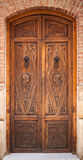 Decorated old wooden door Stock Photo