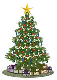 Decorated oldstyle christmastree with gifts. Isolated on white Royalty Free Stock Photo