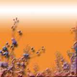 Decorated orange background. An illustrated orange background with a decorative border at the bottom.  Designs appearing to be flowers and various abstract fauna Stock Photo