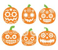 Halloween pumpkin  desgin - Mexican sugar skull style, Dia de los Muertos decoration Royalty Free Stock Photos