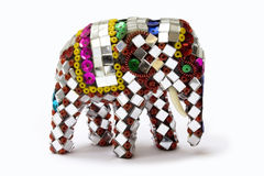 Decorated ornate Thai elephant figure. Side view on white background Royalty Free Stock Photos