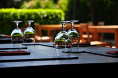Decorated outdoor dining table Royalty Free Stock Photo