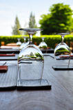 Decorated outdoor dining table Royalty Free Stock Image