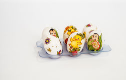 Decorated painted eggs for Easter with children's drawings. Decoupage. Six decorated painted eggs for Easter with children's drawings. Decoupage. Concept of Stock Images