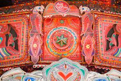 A decorated Pakistani truck. Decoration pakistani truck front side backside decorated art artist paint painter flower heart culture wheels auto bedford punjab stock photo