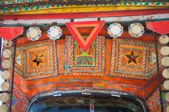 A decorated Pakistani truck. Decoration pakistani truck front side backside decorated art artist paint painter flower heart culture wheels auto bedford punjab stock photography