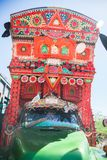 A decorated Pakistani truck stock photography