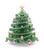 Decorated paper Christmas tree. 3d. Stock Photography