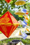 Decorated paper lantern in Hue, Vietnam. A decorated paper lantern on display at the Citadel in Hue, Vietnam royalty free stock photography