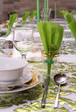 Decorated Passover Seder table in Tel Aviv, Israel Stock Photography