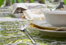Decorated Passover Seder table in Tel Aviv, Israel. Modern Passover Seder table with green  and gold decorations in Tel Aviv, Israel, complete with Matzos and a Stock Photography