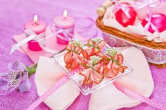 Decorated piece of ham on the table Stock Photo