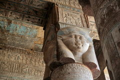 Decorated pillars and ceiling in Dendera temple, Egypt Royalty Free Stock Image