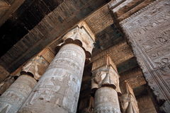 Decorated pillars and ceiling in Dendera temple, Egypt Royalty Free Stock Photography