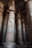 Decorated pillars and ceiling in Dendera temple, Egypt Stock Photography