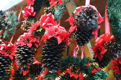 Decorated Pine cones Stock Photo