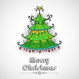Decorated Pine Tree on Christmas card Royalty Free Stock Photo