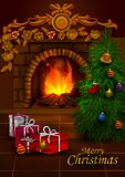 Decorated Pine tree near fireplace for Merry Christmas and Happy New Year. In vector Royalty Free Stock Photos