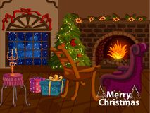 Decorated Pine tree near fireplace for Merry Christmas and Happy New Year. In vector Stock Photography
