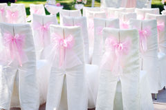 Decorated with pink bows on the chairs wedding ceremony Royalty Free Stock Images