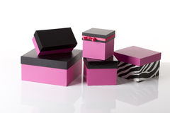 Decorated pink boxes Royalty Free Stock Photo