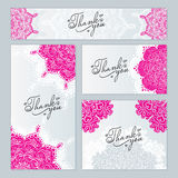 Decorated with pink ornaments. Business card banner decorated with pink ornaments handmade Stock Images