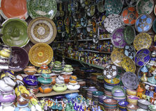 Decorated plates and traditional morocco souvenirs. In medina souk Royalty Free Stock Photography
