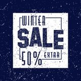 Decorated poster, banner or flyer design of Winter Sale. Grunge. Vintage texture Stock Photo
