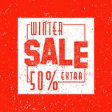 Decorated poster, banner or flyer design of Winter Sale. Grunge. Vintage texture Royalty Free Stock Photography
