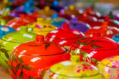 Decorated pot, rice cup, souvenir shop Royalty Free Stock Photos