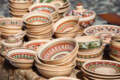 Decorated pottery collection at the handicraft mar Royalty Free Stock Photography