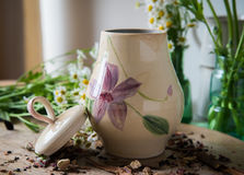 Decorated pottery jar Stock Photography