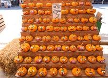 Decorated Pumpkin At Farmers Market Stock Photo