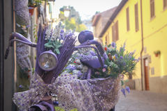 Decorated purple woman bicycle in the city stock photos