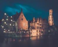 Decorated quay in Bruges, Belgium Stock Images