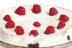 Decorated Raspberry and Cream Icing on a Chocolate. Cake in a Glass Pan royalty free stock photography