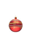 Decorated red Christmas ball Stock Photos