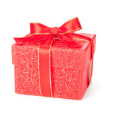 Red gift box isolated on white Royalty Free Stock Images