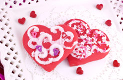 Decorated Red Valentines Cookies Stock Image