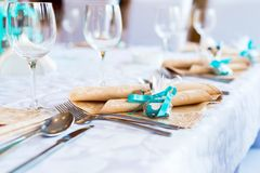 Decorated restaurant table. For celebration Royalty Free Stock Photo