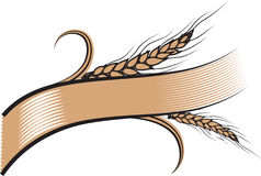 Decorated ribbon with two ripe wheat ears. Vector illustration decorated ribbon with two ripe wheat ears. Can be used as frame, corner or border design Stock Image