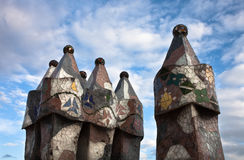 The decorated roof. Casa Batllo. Antonio Gaudi Royalty Free Stock Photos