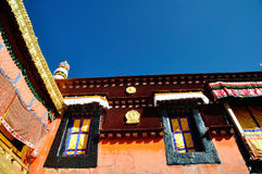Decorated Roof of Jokhang. Lhasa Tibet. Royalty Free Stock Photo