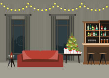 Decorated room interior with christmas tree. Decorated room interior with christmas tree, presents , furniture and counter bar, flat design vector illustration Stock Photography